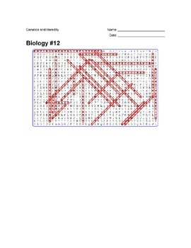 Biology #12 - Genetics and Heredity - Wordsearch Puzzle