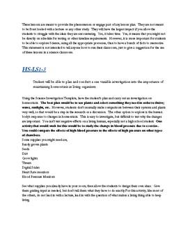 Biology Homeostasis Lab Activity HS-LS1-3