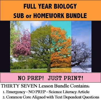 Biology Literacy -Science Articles - Full Year Bundle