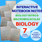 Biology Interactive Notebook - Biology Intro and Macromolecules Notes