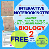 Biology Interactive Notebook - Energy - Photosynthesis Cellular Respiration FREE