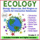 ECOLOGY Warm Ups, Bell Ringers, Interactive Notebooks