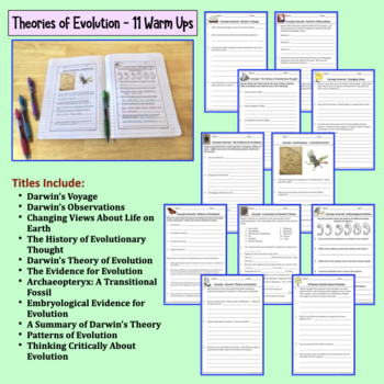 Evolution Warm Ups, Interactive Notebooks, Bell Ringers