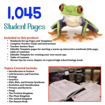 Biology Interactive Notebooks, Warm Ups, Bell Ringers FULL YEAR