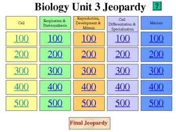 Biology Jeopardy Review - Cells, Cell Processes, Cell Cycle