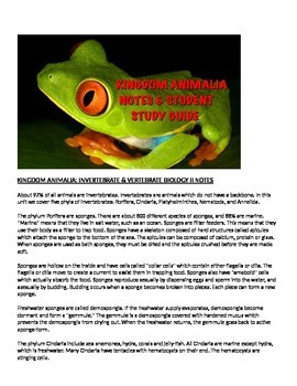 Biology Kingdom Animalia Lecture note and Student Study Guide