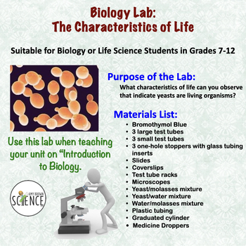 biology lab characteristics of life by amy brown science tpt. Black Bedroom Furniture Sets. Home Design Ideas