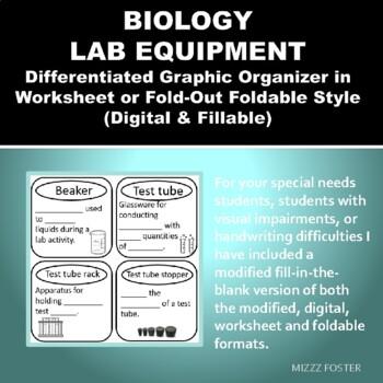Biology Lab Equipment Graphic Organizer Foldable for INB