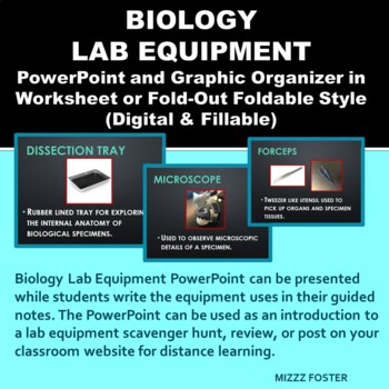 Biology Lab Equipment Power Point and Graphic Organizer Foldable for INB