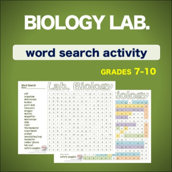 Biology Lab. - Introduction * WordSearch * Vocabulary* Warm Up * Bell Ringer *