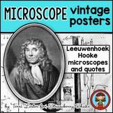 Biology Lab MICROSCOPE Vintage Posters and Quotes Leeuwenhoek Hooke