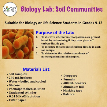 Biology Lab:  Soil Communities (Testing for Microorganisms in Soil Samples)