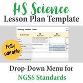 High School Science Lesson Plan Template - Drop Down NGSS Standards