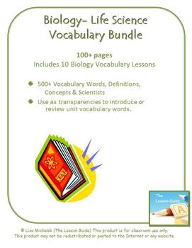 Biology - Life Science Vocabulary Bundle ~ 100+ pages ~ 500+ definitions