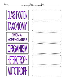 Biology / Life Science Vocabulary - Classification and Taxonomy