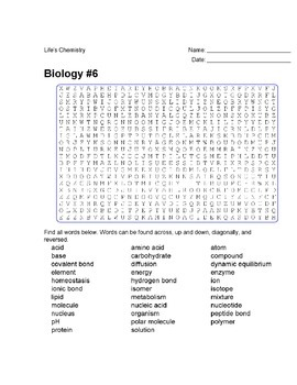 Biology #06- Life's Chemistry - Wordsearch Puzzle