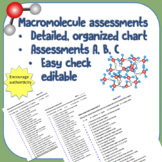 Biology Macromolecule Assessments with Chart