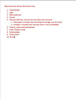 Biology Macromolecules Basics Quiz (With Key)
