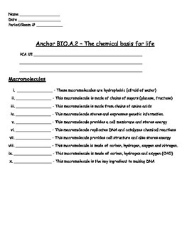 macromolecules_ws2 - Macromolecules Worksheet#2 Name Per Part A ...