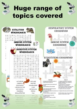 Biology: Mega Puzzle Bundle. 20 Crosswords and Wordsearches included!