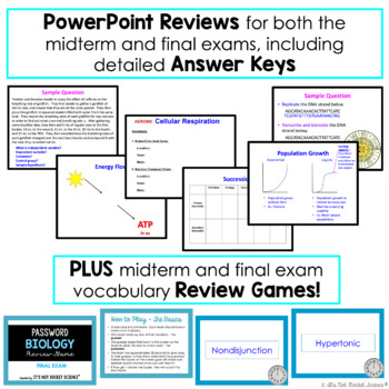 Biology Midterm and Final Exam Review and Test Pack