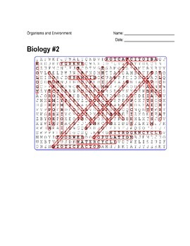 Biology #02 - Organisms and Environment - Wordsearch Puzzle