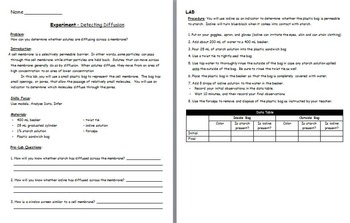 Cell Transport - Osmosis Experiment; Diffusion Experiment w/ worksheet