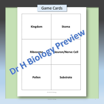 Biology Pictionary Game