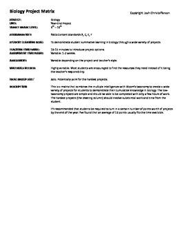 Biology Project Matrix
