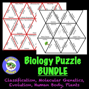 Biology Puzzle Bundle: Genetics, Classification, Evolution, Plants, Human Body