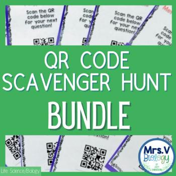 Biology QR Code Scavenger Hunt Activity Bundle