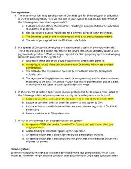 Biology Question Assortment - High Level + Critical Thinking