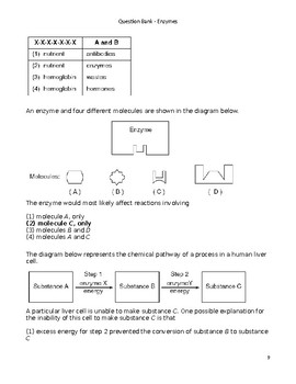 High School Biology Question Bank - Enzymes
