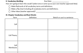 Biology Reading Guides/Literacy Infusion