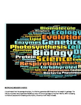 Biology Recycling Lecture notes and Student Study Guide