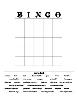 Biology Review Bingo Card (Classification, Evolution and Genetics)