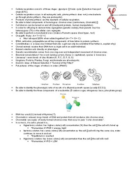 Biology Review Sheet - for Final Exam, AIR Test, State Assessment