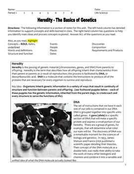 High School Biology Notes - Heredity and Genetics