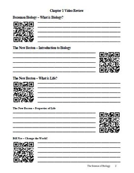 Biology - Science of Biology Chapter Guide (with QR codes)