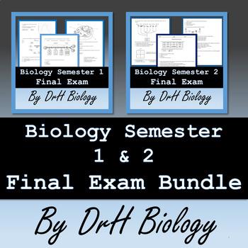 Biology Semester 1 & 2 Final Exam Bundle