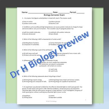 Biology Semester 1 Final Exam