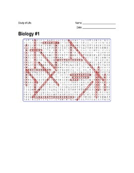 Biology #01 - Study of Life -Wordsearch Puzzle