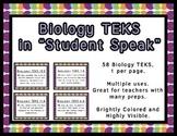 Biology TEKS Cards for Bulletin Boards Objectives Made Mor