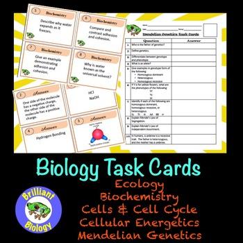Biology Task/Flash Cards: Ecology, Biochemistry, Cells, En