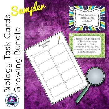 Biology Task Cards Growing Bundle FREE SAMPLER