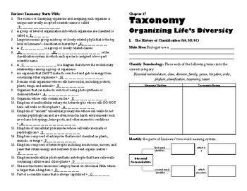 Biology Taxonomy Self-Paced Booklet