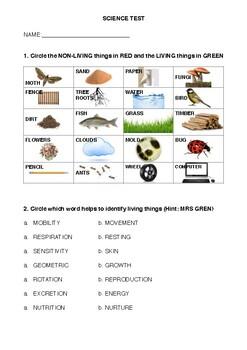 Living / Non-Living Biology Test