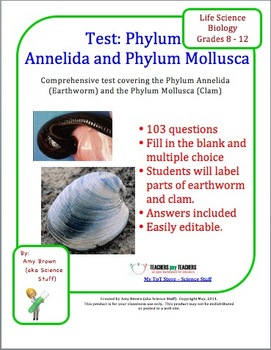 Biology Test: Phylum Annelida and Phylum Mollusca