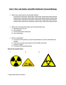 Biology Test-Scientfic Method and Lab Safety