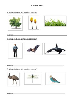 Biology Test - Year 3/4 MODIFIED